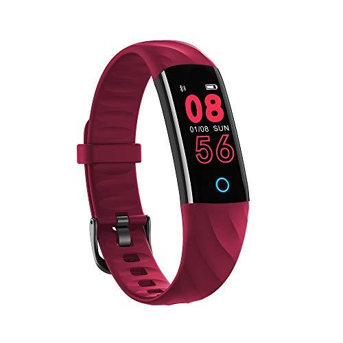 Fitness Tracker Smart Watch,IP68 Waterproof Activity Tracker Smart Watch with Heart Rate Blood Pressure Message Call Reminder Smartwatch for Women Men Kids,Bluetooth Touch Screen Sport Watch (Red)