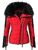 Navahoo Yuki2 Veste d'hiver pour Dame avec Une Capuche en Fausse Fourrure Noire Red S