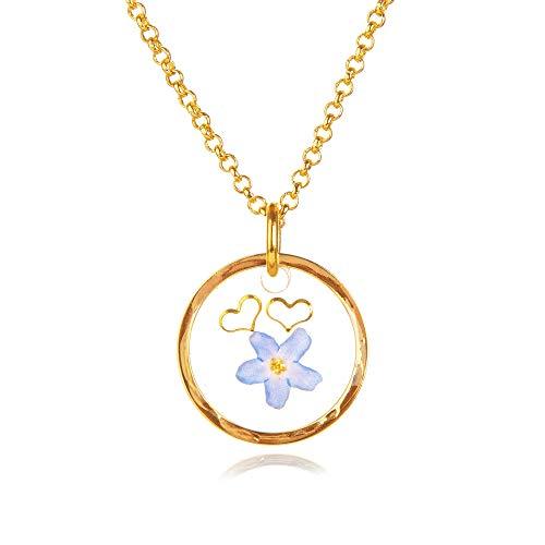 Faye - Collar nomeolvides | Gargantilla de flores reales | Joyas de Amistad | Colgante de resina| Regalo único para ella | 03AB