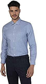 Splash Cotton Patterned Chest-Pocket Long Sleeves Regular-Fit Shirt for Men