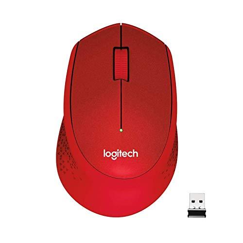 Logitech M330 Silent Plus Kabellose Maus, 2.4 GHz Verbindung via Nano USB-Empfänger, 1000 DPI Optischer Sensor, 24-Monate Akkulaufzeit, 3 Tasten, PC/Mac - rot, Englische Verpackung