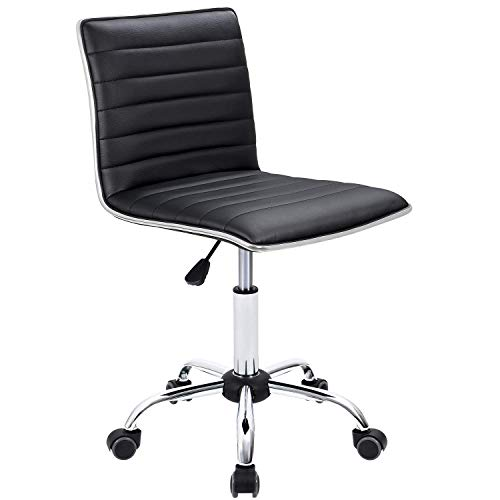Furmax Mid Back Task Chair,Low Back Leather Swivel Office Chair,Computer Desk Chair Retro with Armless Ribbed (White)