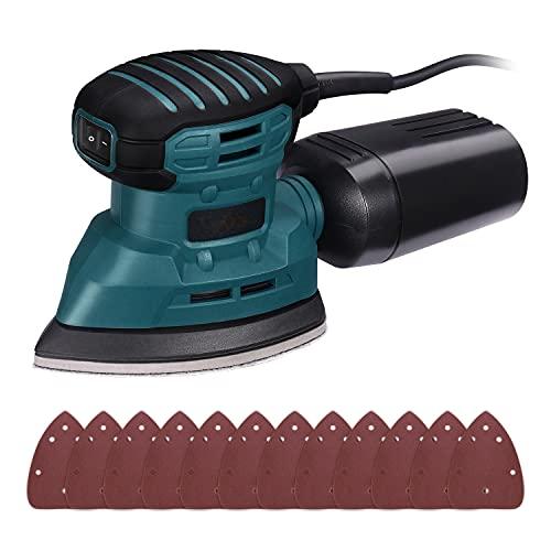 Lijadora Eléctrica, Lijadora Madera 350W 12000RPM, con Recogida de Polvo Eficiente, y 12 Lijas (80 y 180 Granos), Lijadora de Detalle Mouse, Conectada a Aspiradora de 35mm (Azul)