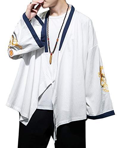 Fotang Hombres Kimono Cárdigan Estilo Japonés Haori Chaqueta Estampado Bordado Holgado Abrigo