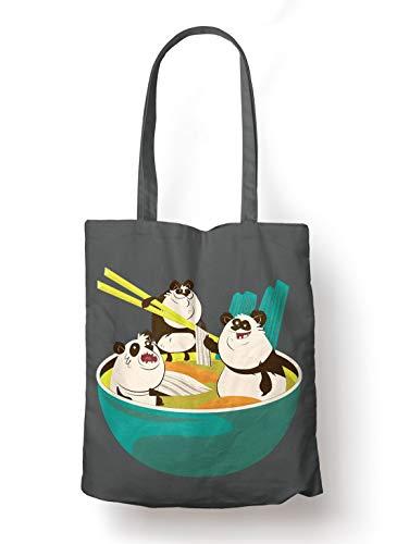BLAK TEE Funny Ramen Panda Soup Illustration Organic Cotton Reusable Shopping Bag Grey