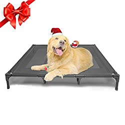 Golden Retriever laying on a grey SUDDUS Elevated Dog Bed.