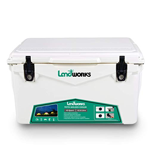 Landworks Rotomolded ENHANCED Ice Cooler 45QT Up to 10 Day Ice Retention Commercial Grade Food Safe...