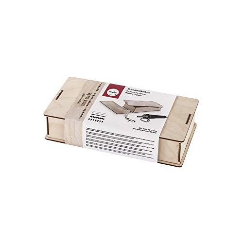 Rayher 89366000 Brandmalkolben in Holzbox, kleiner, handlicher Brennstab für Brandmalerei auf Holz, Kork oder Leder, inklusiv 5 verschiedene Aufsätze, 1 Ablage, 1 Test-Holzstück