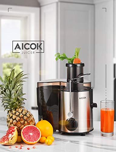 Aicok Licuadoras para Verduras y Frutas de Acero Inoxidable, 18000RPM, 3 Modos de Velocidad, Extractor de Zumos Prensado en Frio con 75MM, con Función Anti-Goteo, Libre de BPA