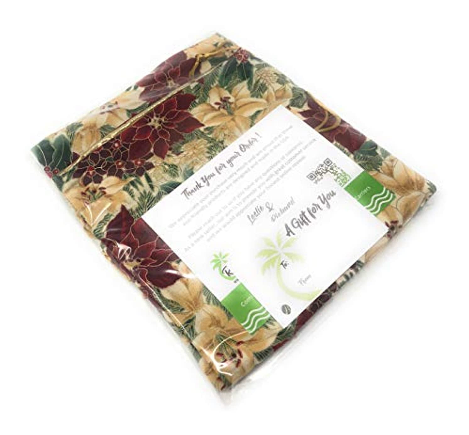 Red/Wht. Poinsettias Fabric -Reusable Drawstring Gift Bag | Eco-Friendly Alternative to Paper Giftwrap for Wine Bottles | Christmas, Holidays | Cotton Cloth Fully-Lined Gold Lamé, 14