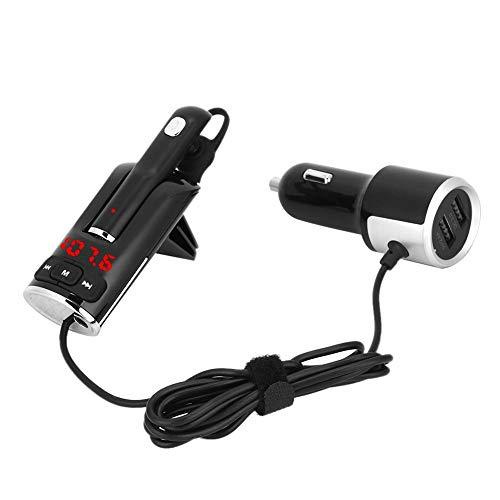 Auriculares Bluetooth para coche, reproductor MP3 manos libres cargador USB dual