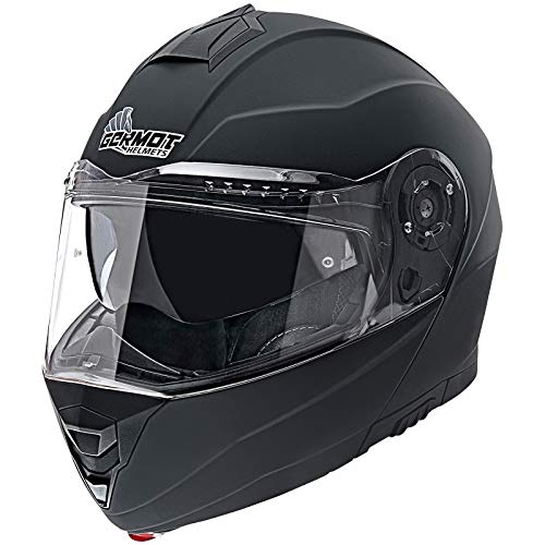 Germot Motorrad Klapp-Helm GM 960, kratzfestes Visier, matt-schwarz, XS