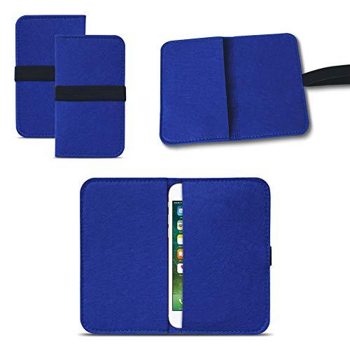 UC-Express Universal Smartphone Cover Tasche Handytasche Hülle Hülle Schutzhülle Sleeve Filztasche mit Kartenfach, Farbe:Blau, Smartphone:Lenovo A Plus