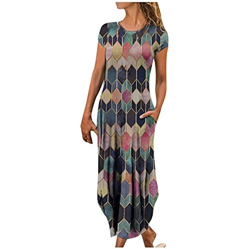 Damen Maxikleid Vintage Plaid Floral bedrucktes Etuikleid mit Taschen Kurzarm O-Ausschnitt Unregelmäßig lose knöchellange Oberteile Kleid Skaterkleid Partykleider(M,Schwarz)