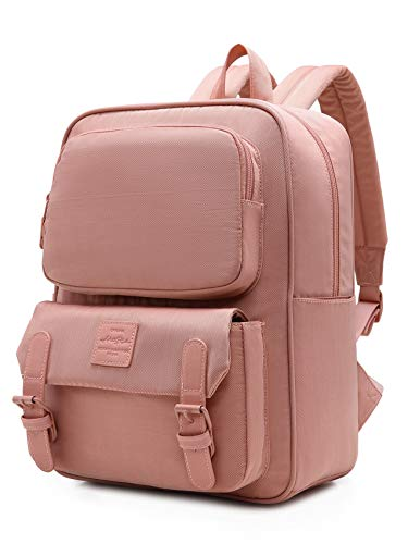 HotStyle DULCY Compact Slim Backpack for Women & Teen Girls, Fits 14-in Laptop, Cute Fashionable Vintage bookbag for School, College, Work & Travel, Melon