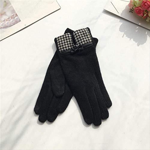6YGR Damen-Handschuhe aus Wolle aus Kaschmir, Schleife aus Leder mit Stickerei, warme Finger für Herbst und Winter, 22 x 8 cm, schwarze Gabel