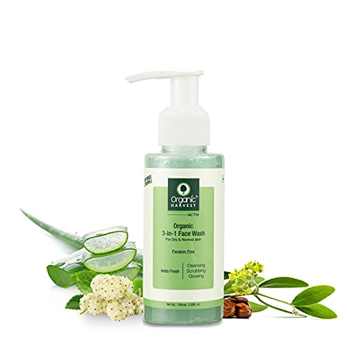 Organic Harvest 3-in-1 Face Wash For Dry & Normal Skin, Daily Use, Ideal For Cleansing, Scrubbing, & Glowing Skin,100% Organic,Paraben & Sulphate Free - 100 ml