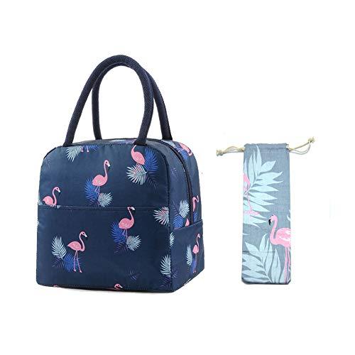 Bolsa Térmica Comida Bolsas de Almuerzo caja porta con Aislamiento Bolso de Mano para Mujeres Impermeable Fiambrera Isotermica Aislado Térmico para Hombres niñas niños (Azul oscuro)