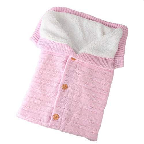 MO&SU Recién Nacido Bebé Saco De Dormir Al Aire Libre, Tejido De Punto Mantener Caliente Sábana De Viaje Bebé Carro Cobija para Baby Shower Regalo-Rosa Claro