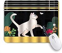マウスパッド 猫釣り好奇心旺盛な金魚狩り好奇心旺盛な現代アート ゲーミング オフィス最適 高級感 おしゃれ 防水 耐久性が良い 滑り止めゴム底 ゲーミングなど適用 用ノートブックコンピュータマウスマット