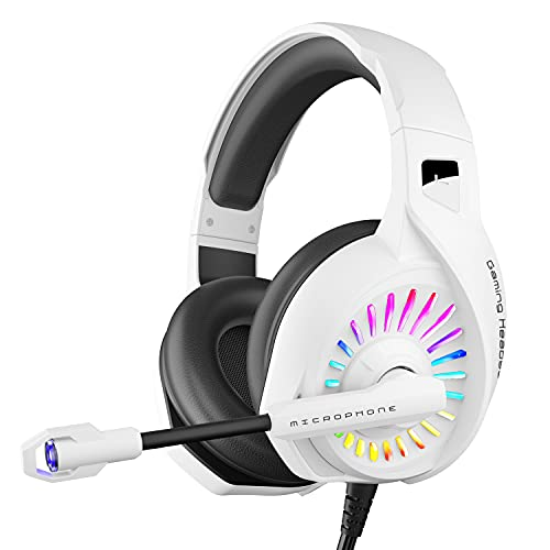 ZIUMIER Z20 White Gaming Headset for PC PS4 PS5 Xbox One Controller, Wired Over-Ear Headphone with Noise Canceling Microphone, RGB LED Light, Bass Surround Sound