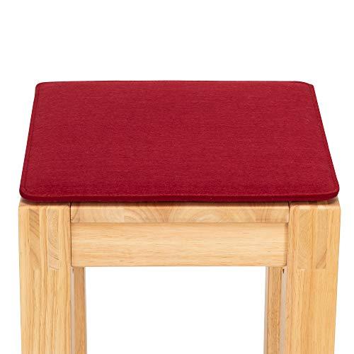FILU Sitzkissen aus Filz 2er-Pack Dunkelrot eckig (Farbe und Form wählbar) 35 x 35 cm – Sitzkissen für drinnen und draußen, Deko für jeden Stuhl im Wohnzimmer oder Esszimmer, Gartenstuhl/Balkonstuhl