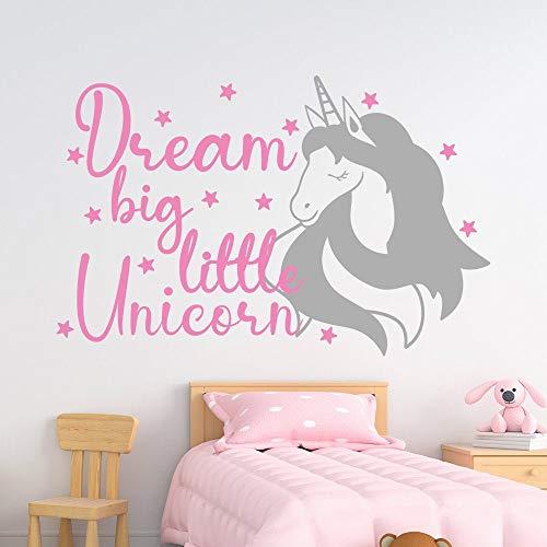 Dream Big Little Unicorn calcomanía para decoración de habitación de niños con cita de unicornio de PVC para decoración de dormitorio de niña