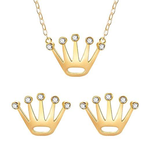 Bangle009die Neuesten Fashion Frauen Anhänger Krone glänzend Strass Ohrringe Halskette Set Schmuck Geschenk Goldfarben
