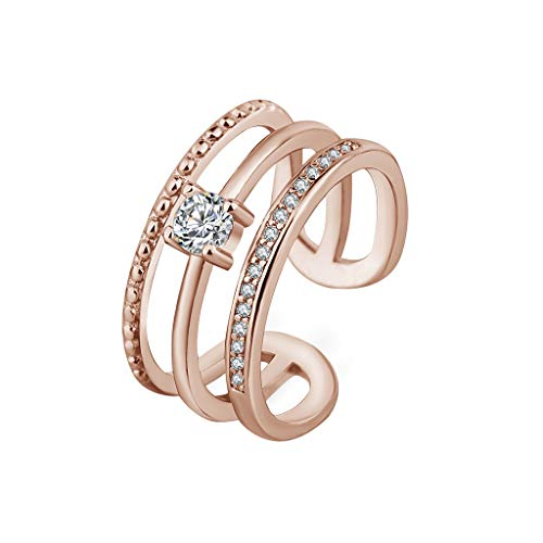 LABIUO Frauen 925 Sterling Silber Ringe, Mode Multi-Layer Diamanten einstellbar Ring Geschenk für Damen/Frau/Freundin/Tochter(Rose Gold,Einheitsgröße)