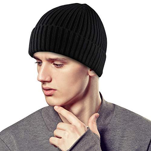 BAONUOR Mütze Herren Damen Beanie Mütze Strickmütze Wintermütze Schwarz Wollmütze Erwachsener Herrenmütze Modern Weich Atmungsaktive Elastisch Caps