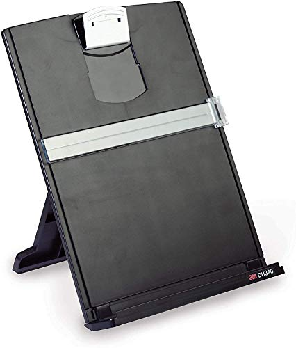 3M Desktop Document Holder with Adjustable Clip, Holds Letter, Legal and A4 Documents, Bottom Ledge Has Lip to Keep up to 150 Sheets Securely in Place, Folds Flat for Storage, Black (DH340MB) (6)
