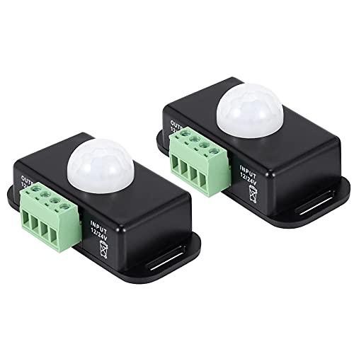 FANERS Interruptor infrarrojo del sensor de movimiento del cuerpo de 2 X 12V / 24V 8a LED Luz de tira automatica, Negro