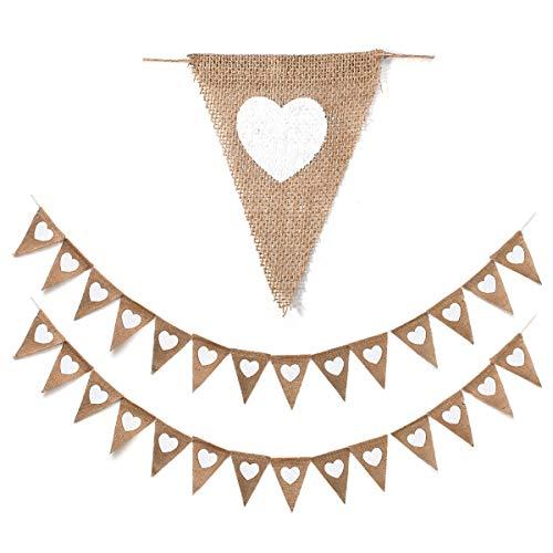 Oumezon 2 stuks vlaggetjes linnen bruiloft vintage hart jute bonting banner (elke ketting ca. 3,5 m lang) slinger, bruiloft, wimpelslinger, jute wimpel, banner, vintage hart