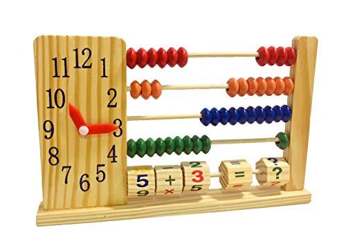 ABACO Infantil con Cuentas de Colores y Reloj de Aguja Desarrollo Habilidades