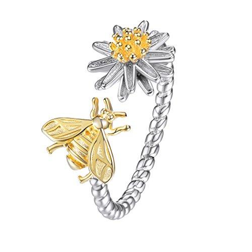 SILVERCUTE Bee & Daisy Twist Open Ring, 18K Gold Plated 925 Sterling Silver Two-Tone Flower & Animal Jewellery Resizable Ring, SCR6250BK