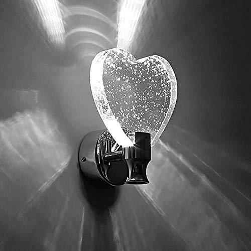Aplique de pared LED Creativo Mariposa/Forma de corazón Cristal de burbujas + Base de acero inoxidable + Panel de aluminio Luz blanca/amarilla Estilo de botón Dormitorio Pasillo Pas