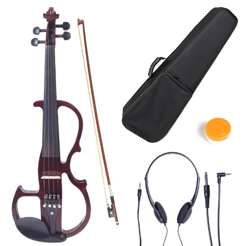 Cecilio CEVN-2NA Style 2 Silent Electric Solid Wood Violin with Ebony Fittings in Metallic Red Mahogany, Size 4/4 (Full Size)
