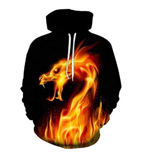 Hoodies zwarte capuchon trui gele vlam draak 3D digitale afdrukken lange mouwen jongens en meisjes dun trui mode jas