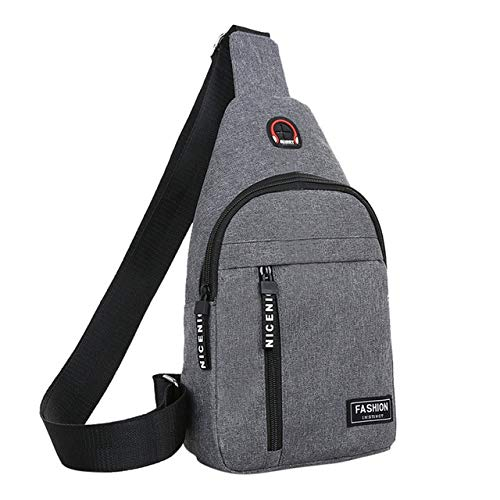 Mdsfe Men and women nylon waist bag crossbody bag crossbody bag outdoor sports shoulder chest daily picnic canvas crossbody bag - Gray