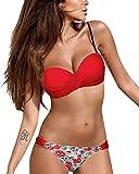 Tuopuda Mujer Bandeau Bikini Mujer Push-up Bra Bikini Tops y Impresión de Cintura Baja Bañador Braguitas