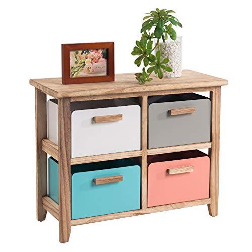 CARO-Möbel Kommode Apache Anrichte Standregal mit 4 Metallboxen, Paulownia-Holz gebrannt,Vintage Retro-Stil
