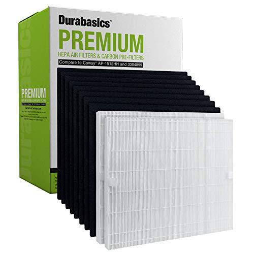 Durabasics 2 Premium HEPA Filters & 8 Carbon Pre-Cut Pre Filters | Compatible Coway Air Purifier Filter Replacement Set | Compatible with Coway AP-1512HH, Coway AP-1512HH, AP1512, Coway AP 1512