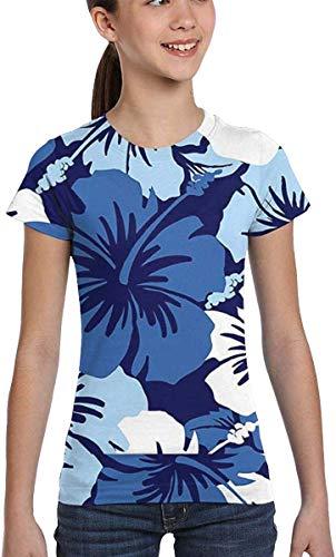 Redsheep Mädchen-Shirt, kurzärmlig, Hawaii, Aloha, Blumenmuster, Blau, XS-XL Gr. XS, Farbe1