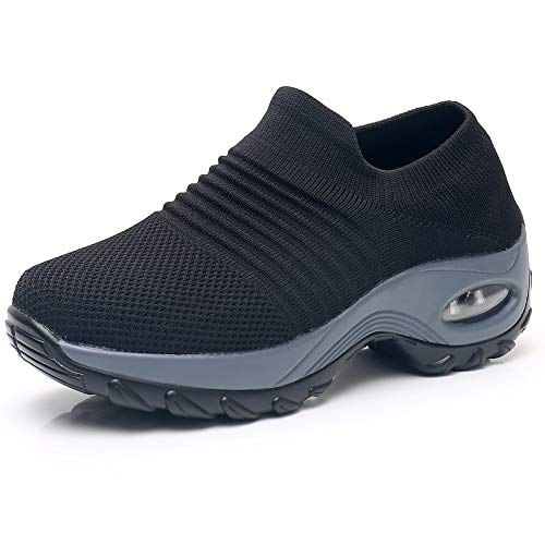 Women's Walking Shoes Sock Sneakers - Mesh Slip On Air Cushion Lady Girls Modern Jazz Dance Easy Shoes Platform Loafers Black,8.5