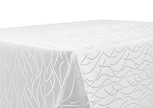 Beautex Mantel de tejido de Damasco, diseño con ondas, no precisa plancha, rectangular, ovalado o redondo, tamaño y color a elegir, poliéster, Weiss, cuadrado 90 x 90 cm