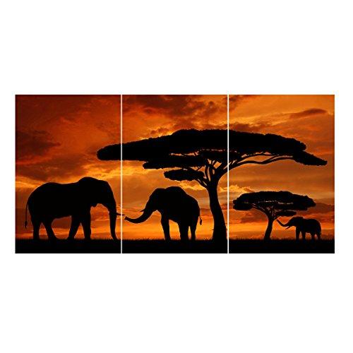 父の日 ギフト アートパネル 象群 夕日の象 モダンアート油画 絵画 油絵 現代 インテリア 動物 ファブリックパネル ポスター壁キャンバス絵画 木枠セット 横40cm*縦60cm* 3枚セット