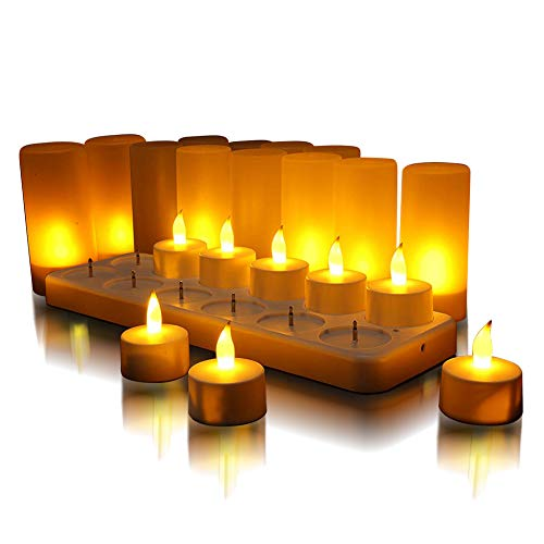 QSPORTPEAK LED recargable sin llama candelita velas parpadeantes candelita base blanca con estación de carga, decoración de regalo para fiesta de vacaciones conjunto de 12 (amarillo)