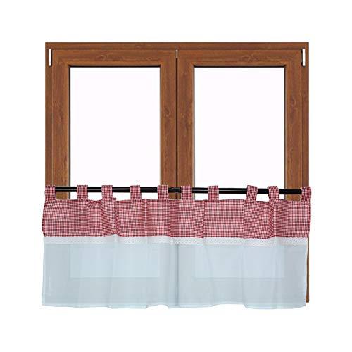 Sunfay Scheibengardine Vorhang Spitze Bistrogardine Volie Kariert mit Schlaufen Fenster Vorhang H x B, 48 x 140 cm Rot