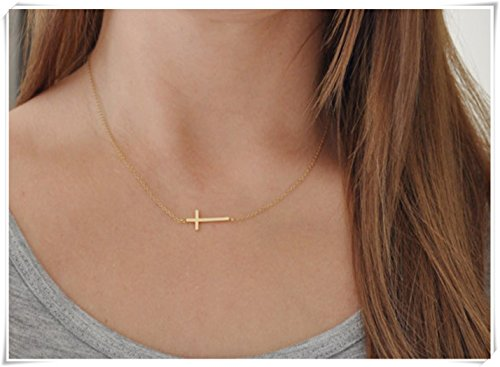 Horizontal Gold Cross Necklace - Short 14k Gold Filled Chain