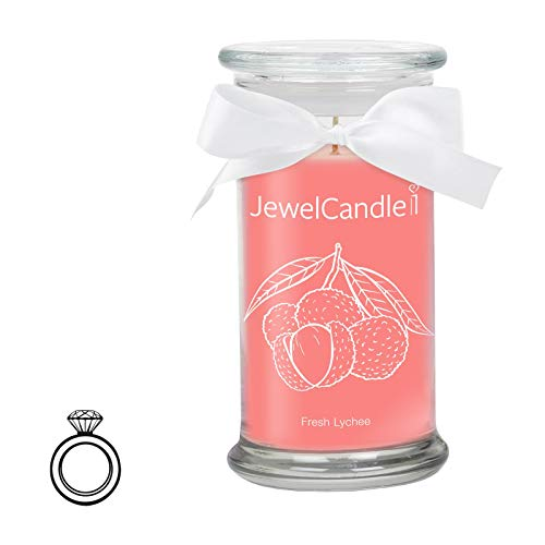 JewelCandle Fresh Lychee - Candela profumata in Vetro con Un Gioiello (Anello in Argento)(XS)